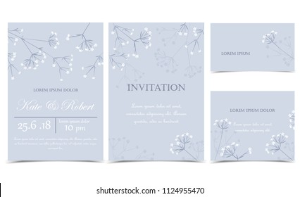 Vector illustration meadow flowers on a grey background. Floral invitations. Set of greeting cards