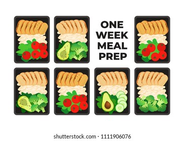 Vector illustration of meal preparation. Portion of food in container. Healthy lifestyle food. Chicken, rice and salad, broccoli, tomato and avocado. Meal prep for a week.