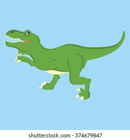 Vector illustration of a mean tyrannosaurs rex t rex dinosaur. Dino. Cute cartoon  green dinosaur on blue background