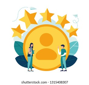 Vector illustration, measuring customer satisfaction and rating stars, satisfactory rating