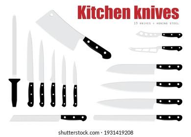 Vector illustration meat cutting knives set. Set of butcher meat knives for butcher shop and design butcher themes.