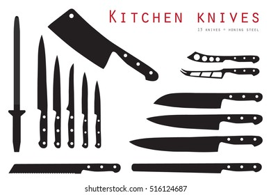 Vector illustration meat cutting knives set. Set of butcher meat knives for butcher shop and design butcher themes.