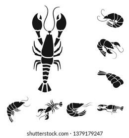 Vector illustration of meat and delicacy symbol. Collection of meat and crab stock vector illustration.