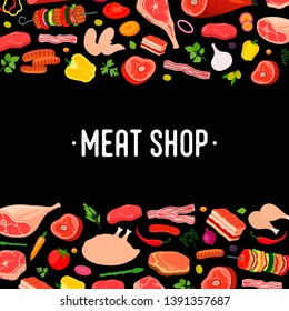 Vector illustration of meat poster, banner with farm beef, ham and vegetables. Fresh products in cartoon flat style for bbq, barbecue party or steak house.