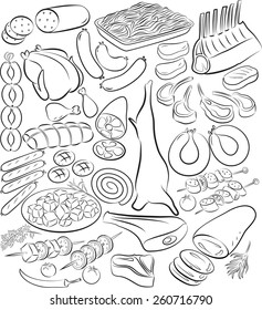 Vector illustration of meat product collection in line art mode