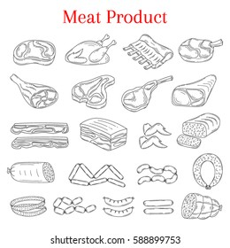 Vector  illustration of meat products beef steak, lamb chop, pork, chicken and sausages, isolated on white background, doodle sketch style.
