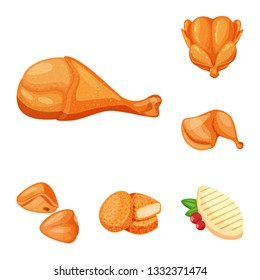 Vector illustration of meat and raw icon. Set of meat and grilled stock symbol for web.