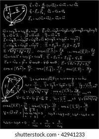 Vector illustration of Mechanics and mathematics formulas with black background. Seamless vector wallpaper.