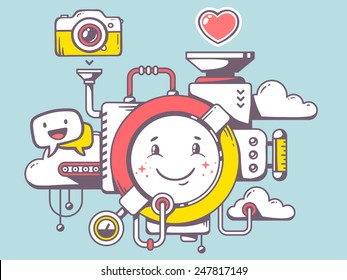 Vector illustration of mechanism with smile and relevant icons on blue background. Line art design for web, site, advertising, banner, poster, board and print.