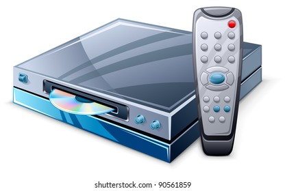 Vector illustration of media player and remote control on white background