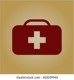Vector illustration of Medical briefcase icon in meroon.