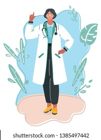 Vector illustration of Medical concept of female doctor in white coat with phonendoscope. Woman hospital worker character smiling.