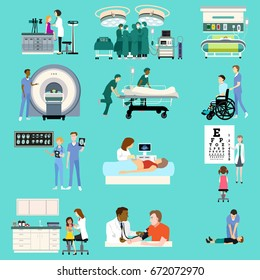 A vector illustration of Medical Healthcare Activities Cliparts