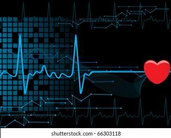 vector illustration of medical heart beat background