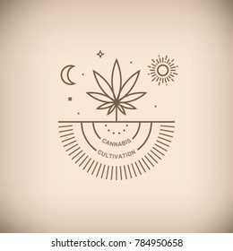 Vector illustration of medical marijuana emblem with Cannabis Cultivation words on beige background.