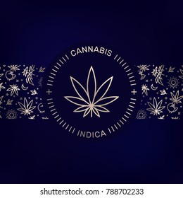 Vector illustration of medical marijuana emblem with Cannabis and Indica words on dark blue background with pattern.