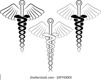 vector illustration of the medical symbol - esculap