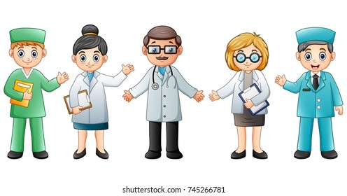 Vector illustration of Medical team isolated on white background. Doctor and Nurse
