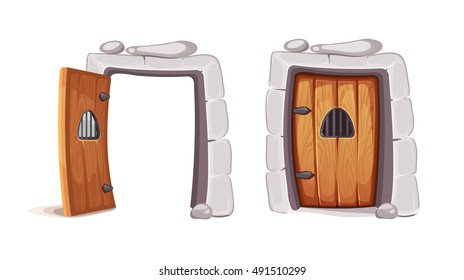 vector Illustration of medieval door from a prison cell. Opened and closed. wood material. Picture for 2D game design. Isolate on white background