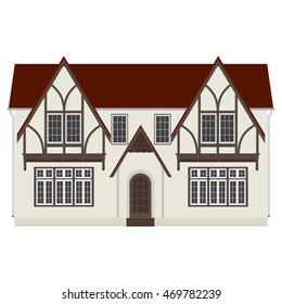 Vector illustration medieval german house. Fachwerk house traditional cottage. Two storey house