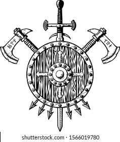 Vector illustration of a medieval ink coat of arms isolated on white. Includes a sword, axes, a wooden shield and arrows. Themes: Middle Ages, quest, medieval weapons, adventure, clan, norse warriors.