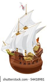 vector illustration of a medieval sailing ship.