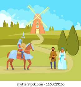 c6f0d9ff Vector illustration of medieval scene with knight on horseback with full  knights equipment including helmet,