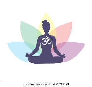 Vector illustration with meditating woman, religious symbol Om and lotus petals behind. Isolated on white background. Yoga icon for logo, poster, banner, flyer or card design.