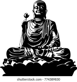 vector illustration of meditation Buddha black and white