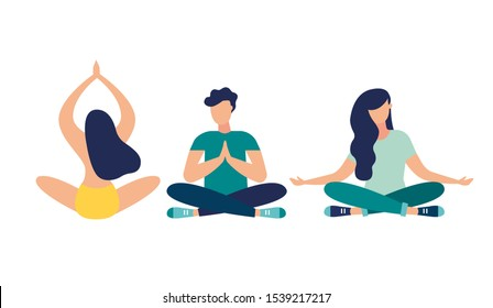 Vector illustration, meditation concept, yoga health benefits of the body. mind and emotions, thought process - vector