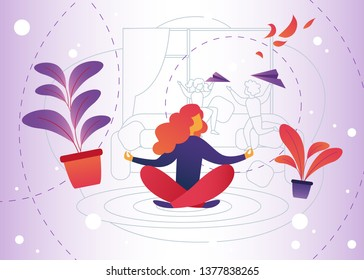 Vector Illustration Meditation at Home Cartoon. Woman Gets Pleasure Relaxation through Meditation. Distraction from Household Chores and Parenting. Turn Off Attention and Forget all Difficulties.