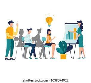 vector illustration. meetings business training, design composition market analysis creative solution. professional development of employees\n