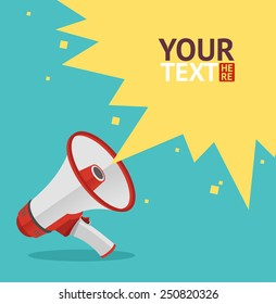 Vector illustration megaphone sign card. Loudspeaker symbol.