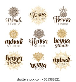 Vector illustration of mehndi logos. Traditional indian style, ornamental floral elements with henna tattoo, golden stickers, flash temporary tattoo, mehndi and yoga design, cards and prints