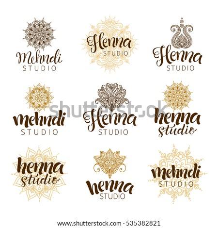 Vector Illustration Mehndi Logos Traditional Indian Stock Vector