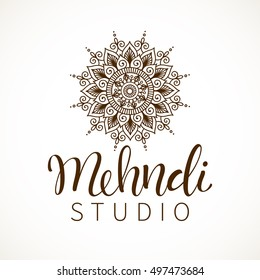 Vector illustration of mehndi pattern. Traditional indian style, ornamental floral elements with henna tattoo, stickers, flash temporary tattoo, mehndi design, cards and prints