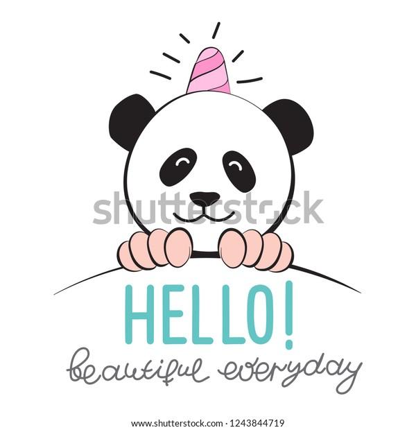 Vector Illustration Meme Panda Unicorn Comic Stock Vector Royalty
