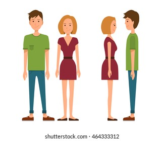 Vector illustration of men in casual clothes and girl with blonde hair  in red dress on the white background. Flat people illustation. Flat young couple. Front view people, Side view people
