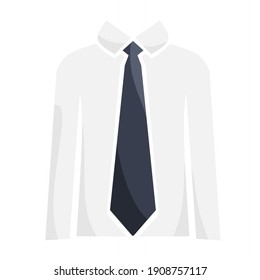 vector illustration of men casual shirt with tie, white shirt.  illustrations for clothes, accessories, beauty.  flat minimalist design eps 10.