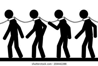 Vector , illustration. Men with chains on their neck. They are slaves.