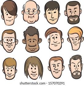 Vector illustration of men faces cartoon heads