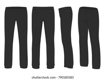 vector illustration of a men fashion, suit uniform, back side view of pants