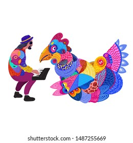 Vector Illustration of A Men Playing Piano While Talking with Chicken. Design Ornament Contemporary Indonesia and Asian Batik.