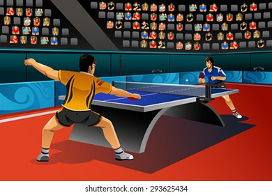A vector illustration of men playing table tennis in the competition for sport competition series