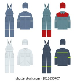 Vector illustration of men s overalls. Clothes in denim style, white, blue. Uniform for a worker, mechanic, driver, loader, mechanic.