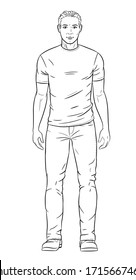 Vector illustration of men wearing jeans, boots and t-shirt.