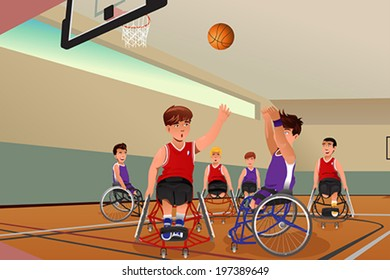 A vector illustration of men in wheelchairs playing basketball in the gym
