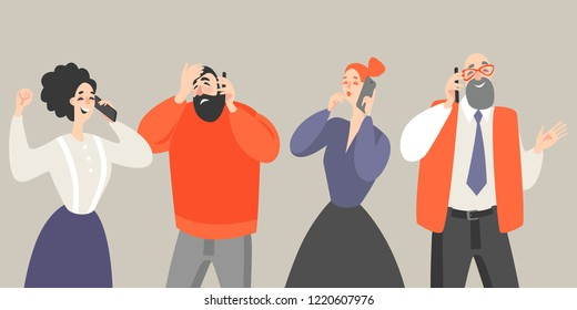Vector illustration of men and women in cartoon style talking on mobile phones. Flat illustration