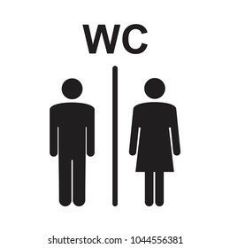 vector illustration of men and women restroom sign, toilette symbols. Vector symbols for public places, banner isolated on white
