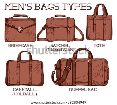 168e249986 Vector Illustration Mens Bags Types Briefcase Stock Vector (Royalty ...
